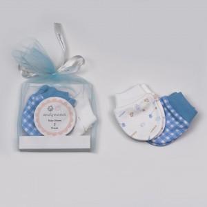 Σέτ 2 Ζευγάρια Γαντάκια Bαμβακερά Blue Abo AC20207-B